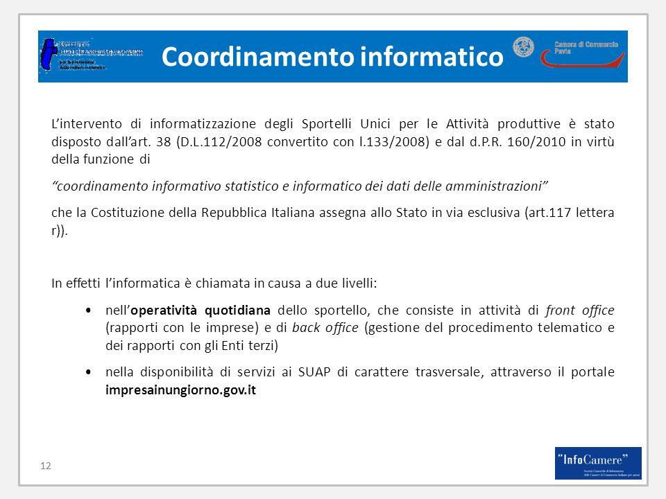 12 Coordinamento informatico 12 Lintervento di informatizzazione degli Sportelli Unici per le Attività produttive è stato disposto dallart.