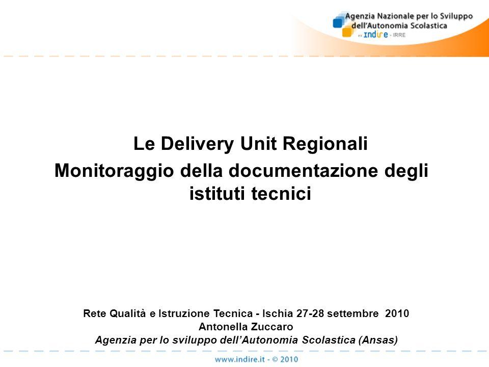 Le Delivery Unit Regionali Monitoraggio della documentazione degli istituti tecnici Rete Qualità e Istruzione Tecnica - Ischia 27-28 settembre 2010 An