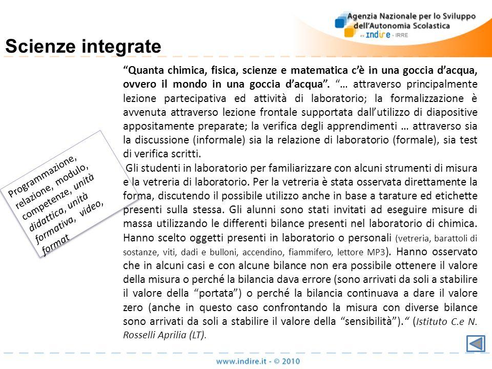 Programmazione, relazione, modulo, competenze, unità didattica, unità formativa, video, format Scienze integrate Quanta chimica, fisica, scienze e mat