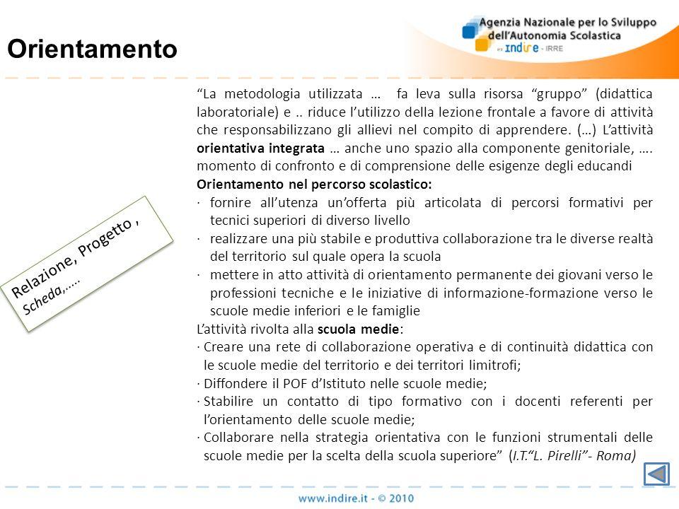 Orientamento Relazione, Progetto, Scheda,..... La metodologia utilizzata … fa leva sulla risorsa gruppo (didattica laboratoriale) e.. riduce lutilizzo