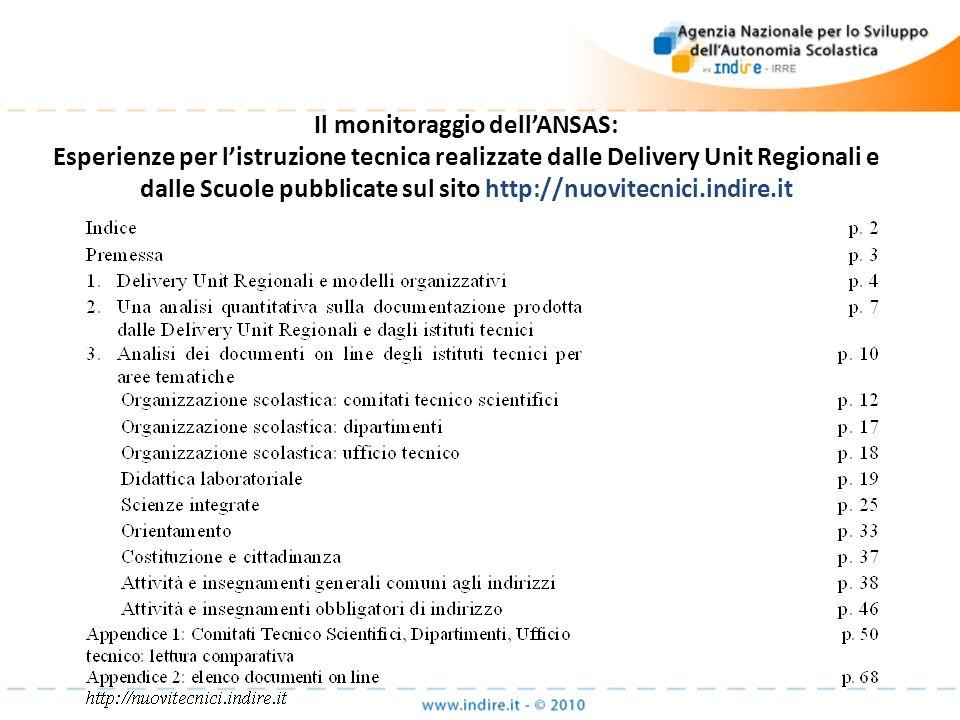 Il monitoraggio dellANSAS: Esperienze per listruzione tecnica realizzate dalle Delivery Unit Regionali e dalle Scuole pubblicate sul sito http://nuovi