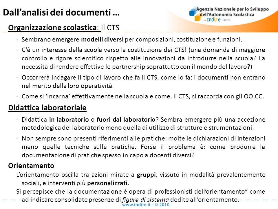 Dallanalisi dei documenti … Organizzazione scolastica: Organizzazione scolastica: il CTS Sembrano emergere modelli diversi per composizioni, costituzi