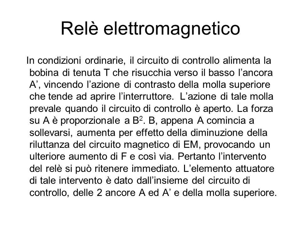 Relè elettromagnetico In condizioni ordinarie, il circuito di controllo alimenta la bobina di tenuta T che risucchia verso il basso lancora A, vincend