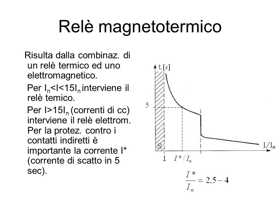 Relè magnetotermico Risulta dalla combinaz. di un relè termico ed uno elettromagnetico. Per I n <I<15I n interviene il relè temico. Per I>15I n (corre
