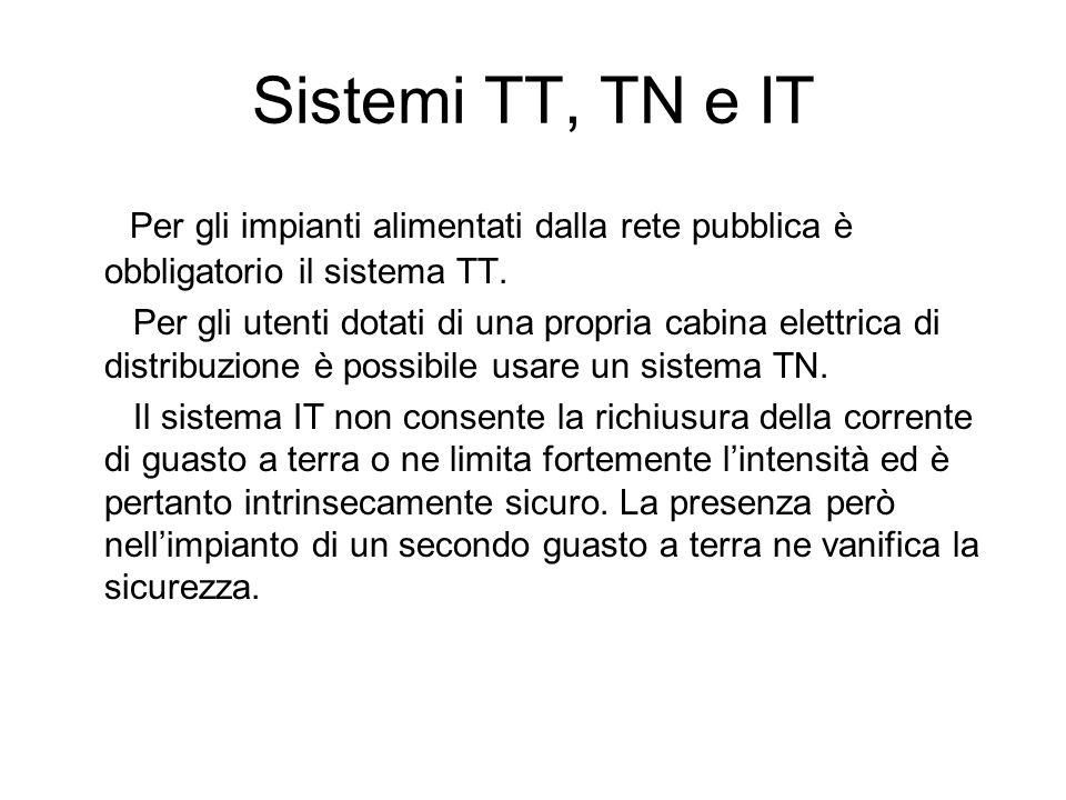 Sistemi TT, TN e IT Per gli impianti alimentati dalla rete pubblica è obbligatorio il sistema TT. Per gli utenti dotati di una propria cabina elettric