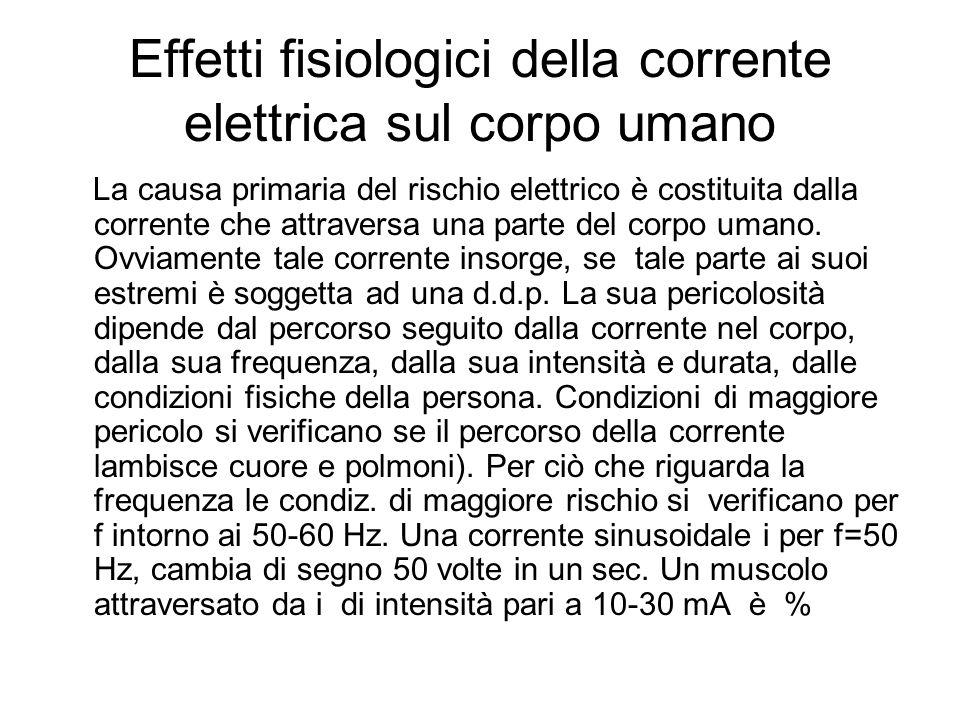 Effetti fisiologici della corrente elettrica sul corpo umano La causa primaria del rischio elettrico è costituita dalla corrente che attraversa una pa
