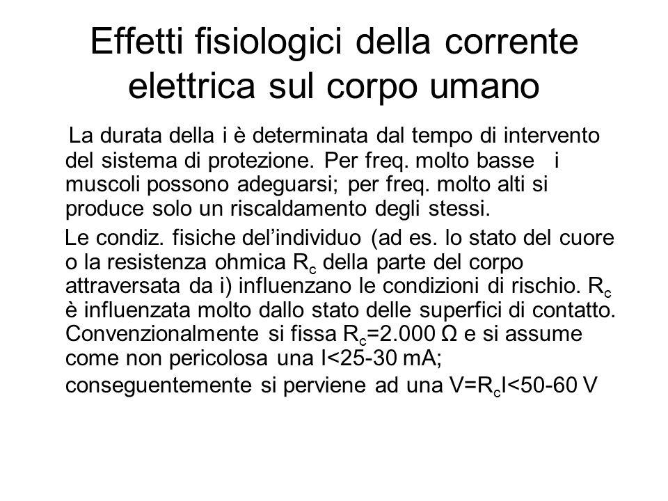 Effetti fisiologici della corrente elettrica sul corpo umano La durata della i è determinata dal tempo di intervento del sistema di protezione. Per fr
