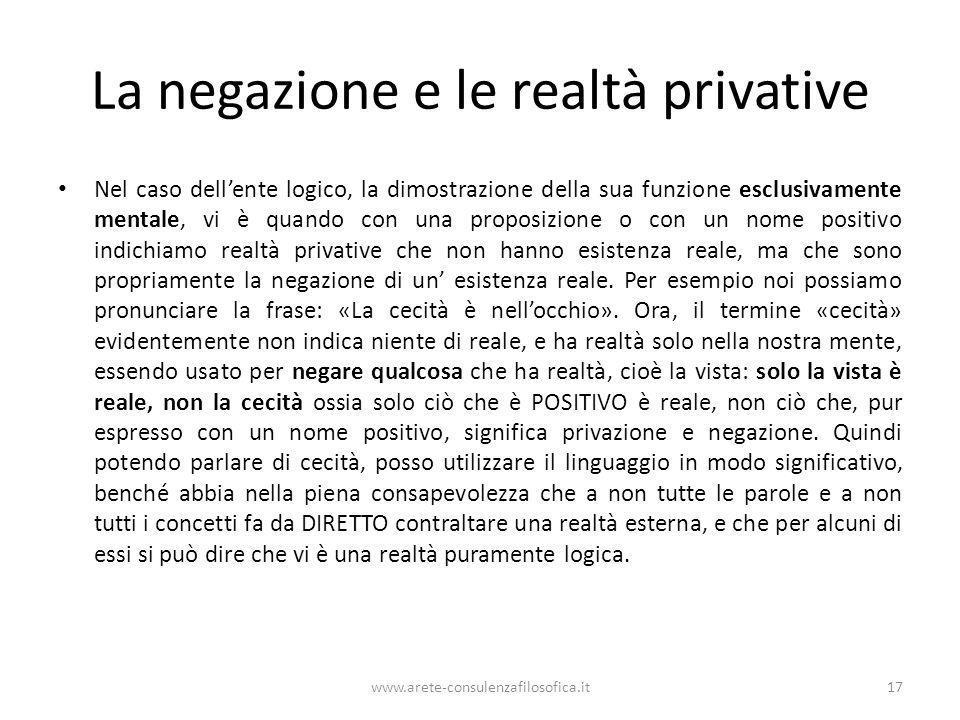 La negazione e le realtà privative Nel caso dellente logico, la dimostrazione della sua funzione esclusivamente mentale, vi è quando con una proposizi