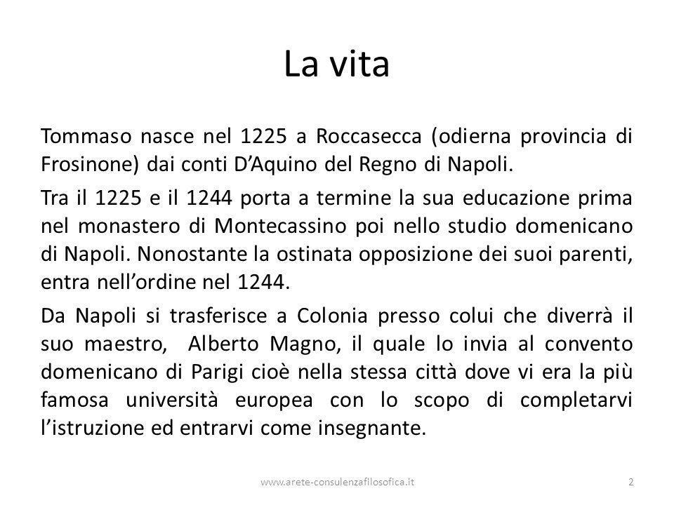 La vita Tommaso nasce nel 1225 a Roccasecca (odierna provincia di Frosinone) dai conti DAquino del Regno di Napoli. Tra il 1225 e il 1244 porta a term