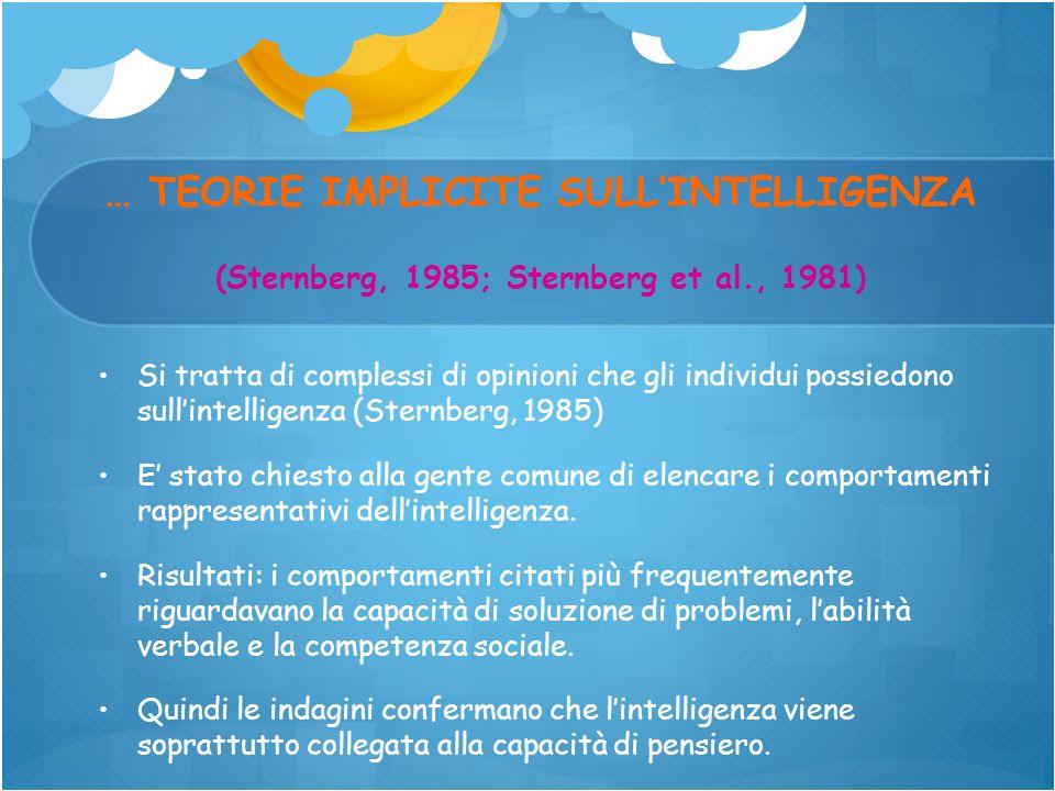 … TEORIE IMPLICITE SULLINTELLIGENZA (Sternberg, 1985; Sternberg et al., 1981) Si tratta di complessi di opinioni che gli individui possiedono sullinte
