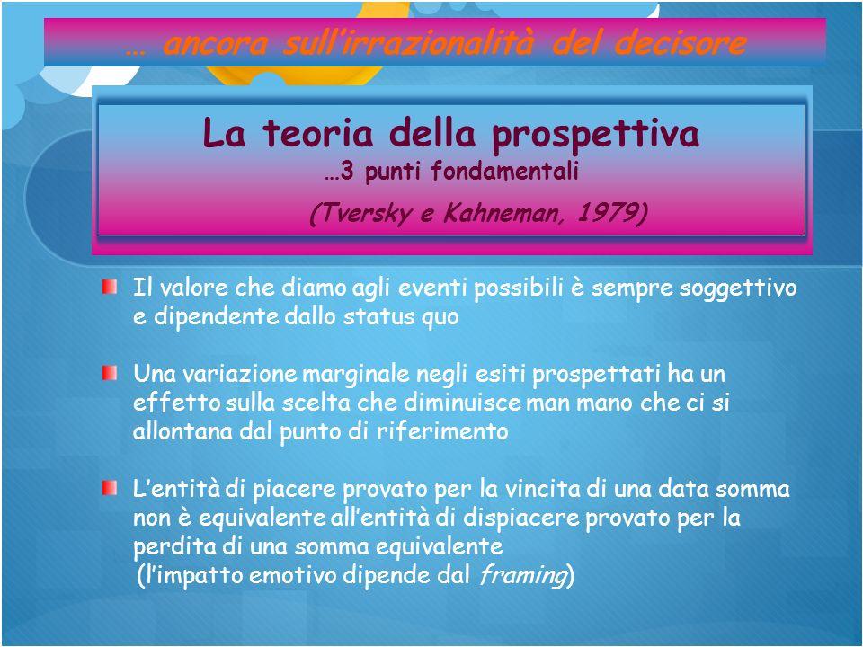 … ancora sullirrazionalità del decisore La teoria della prospettiva …3 punti fondamentali (Tversky e Kahneman, 1979) Il valore che diamo agli eventi p