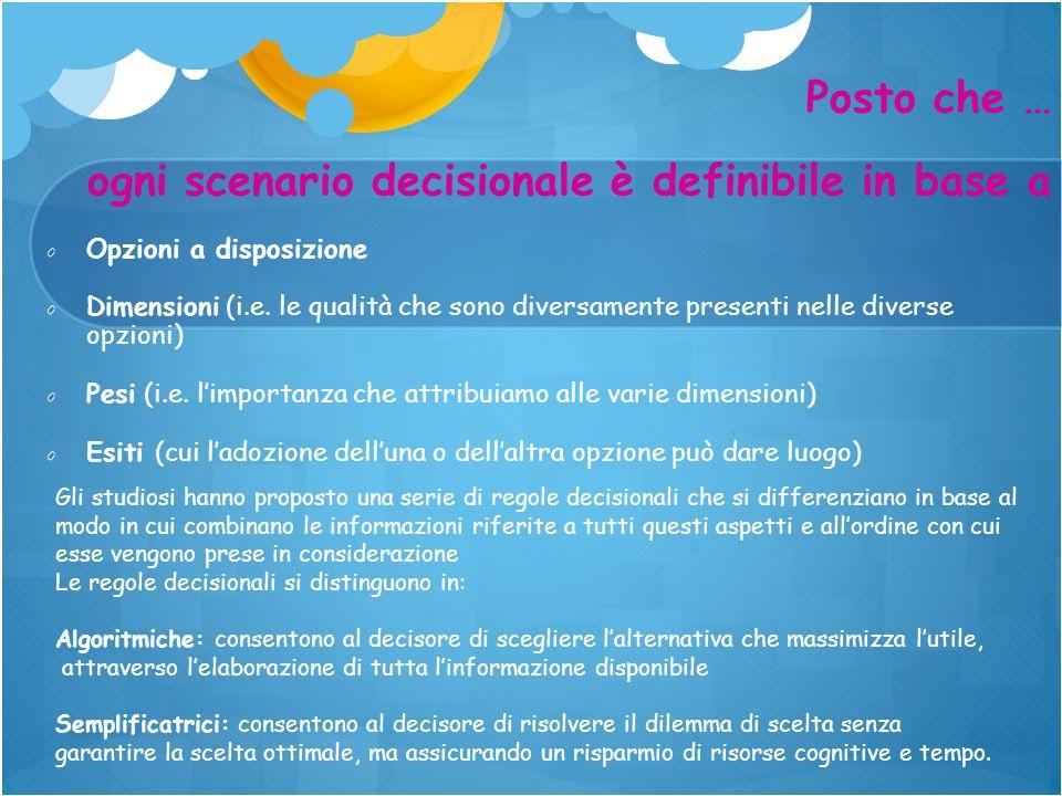 Opzioni a disposizione Dimensioni (i.e. le qualità che sono diversamente presenti nelle diverse opzioni) Pesi (i.e. limportanza che attribuiamo alle v