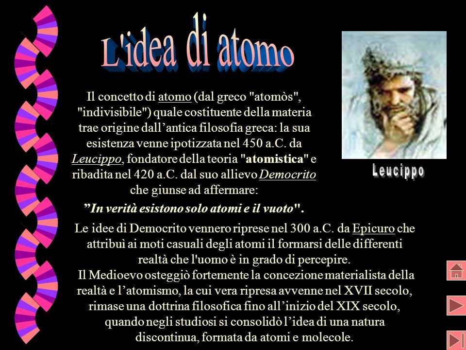 Il concetto di atomo (dal greco atomòs , indivisibile ) quale costituente della materia trae origine dallantica filosofia greca: la sua esistenza venne ipotizzata nel 450 a.C.
