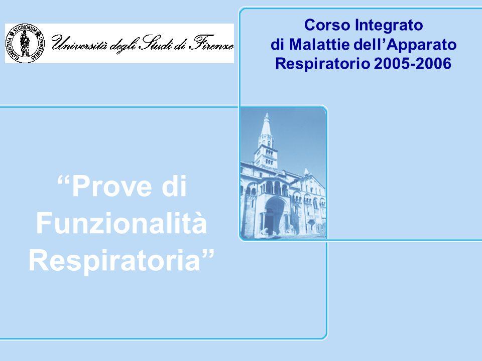 Corso Integrato di Malattie dellApparato Respiratorio 2005-2006 Prove di Funzionalità Respiratoria