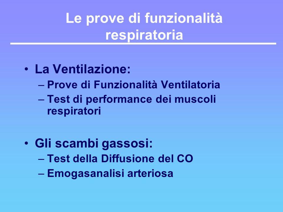 Le prove di funzionalità respiratoria La Ventilazione: –Prove di Funzionalità Ventilatoria –Test di performance dei muscoli respiratori Gli scambi gas