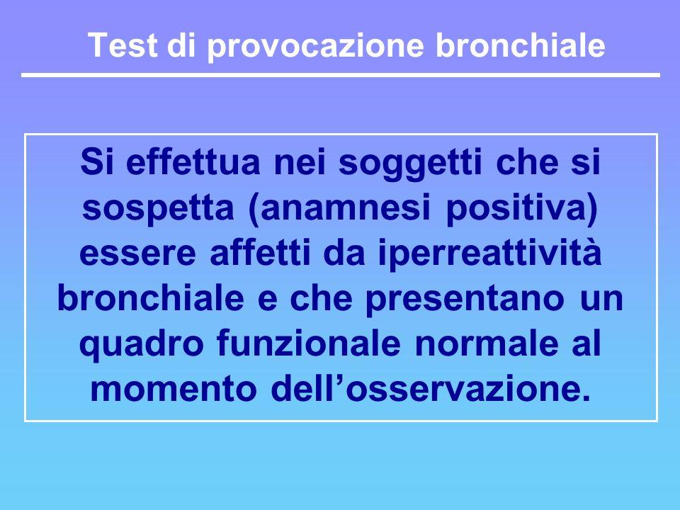 Si effettua nei soggetti che si sospetta (anamnesi positiva) essere affetti da iperreattività bronchiale e che presentano un quadro funzionale normale