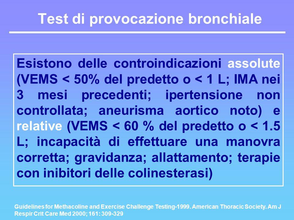 Esistono delle controindicazioni assolute (VEMS < 50% del predetto o < 1 L; IMA nei 3 mesi precedenti; ipertensione non controllata; aneurisma aortico
