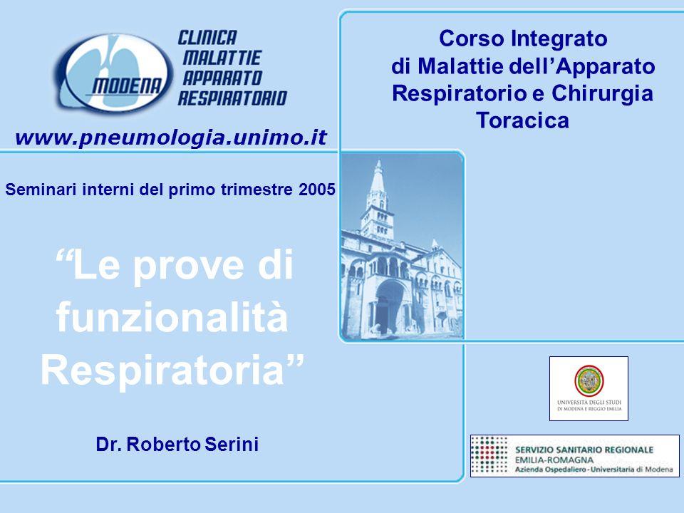 www.pneumologia.unimo.it Seminari interni del primo trimestre 2005 Corso Integrato di Malattie dellApparato Respiratorio e Chirurgia Toracica Le prove