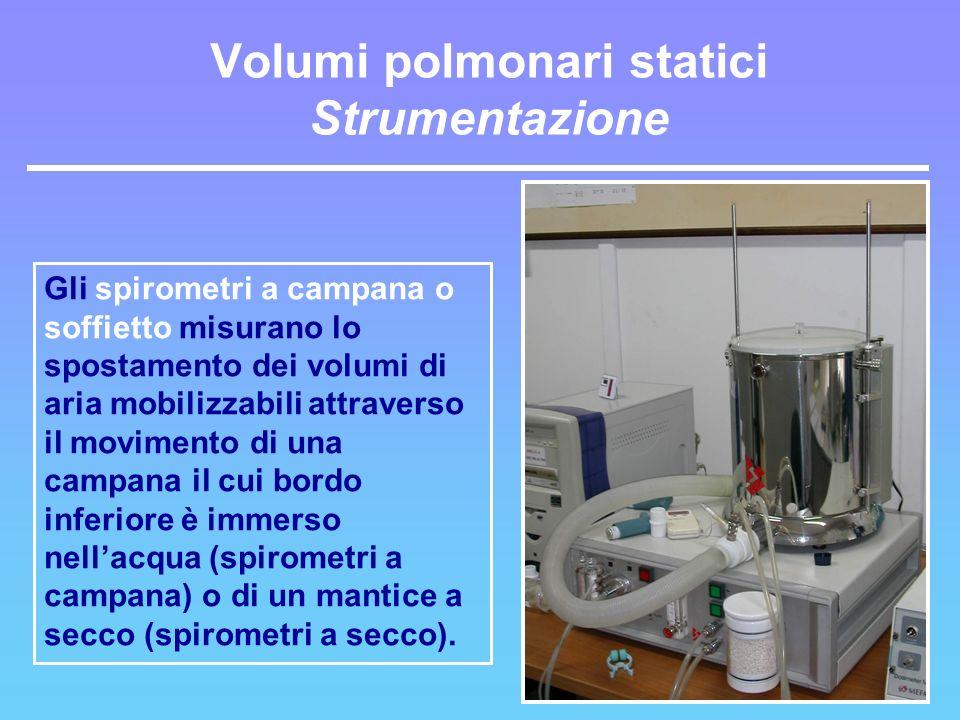 Gli spirometri a campana o soffietto misurano lo spostamento dei volumi di aria mobilizzabili attraverso il movimento di una campana il cui bordo infe