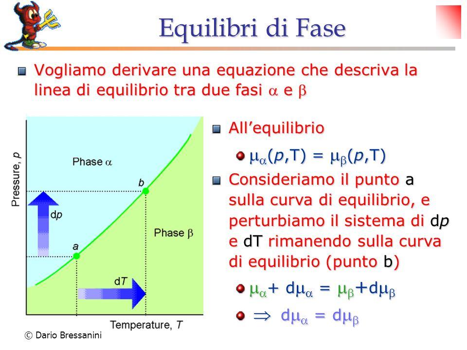 © Dario Bressanini Equilibri di Fase Vogliamo derivare una equazione che descriva la linea di equilibrio tra due fasi e Vogliamo derivare una equazion