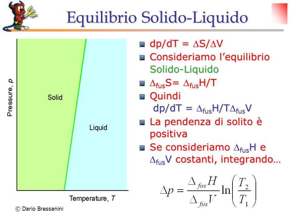 © Dario Bressanini Equilibrio Solido-Liquido dp/dT = S/V Consideriamo lequilibrio Solido-Liquido fus S= fus H/T fus S= fus H/T Quindi dp/dT = fus H/T