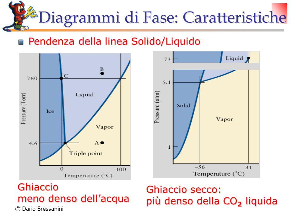 © Dario Bressanini Ghiaccio meno denso dellacqua Ghiaccio secco: più denso della CO 2 liquida Diagrammi di Fase: Caratteristiche Pendenza della linea