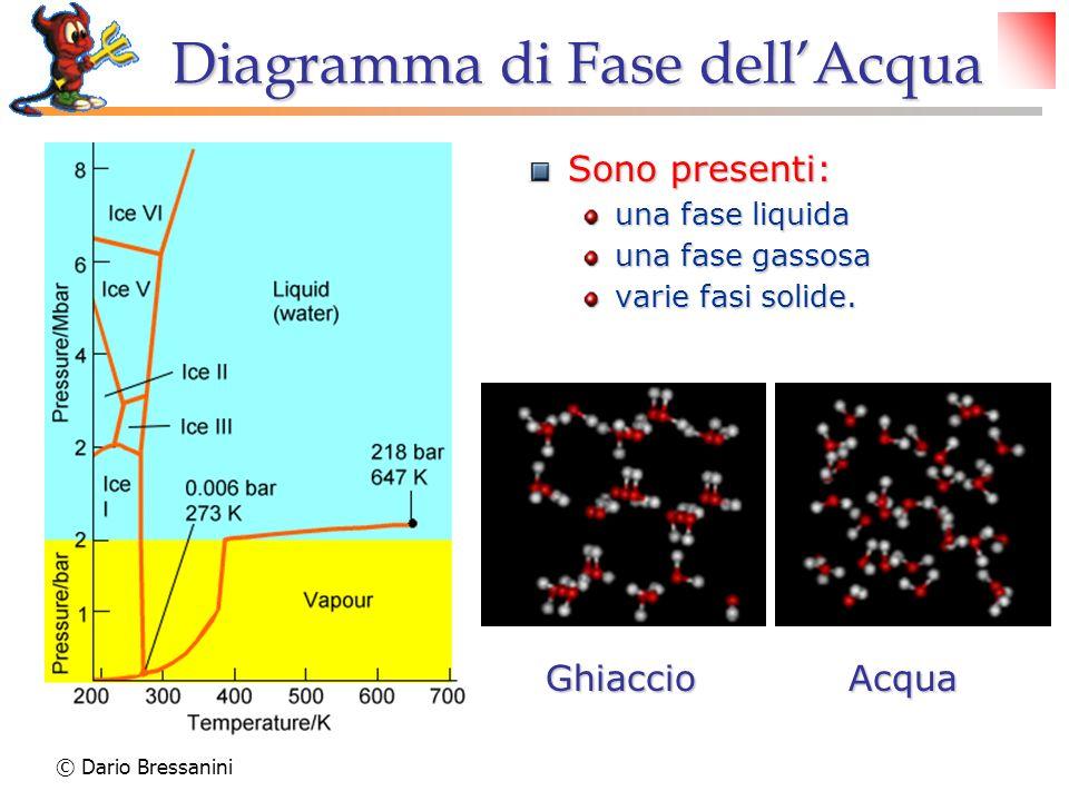 © Dario Bressanini GhiaccioAcqua Diagramma di Fase dellAcqua Sono presenti: una fase liquida una fase gassosa varie fasi solide.