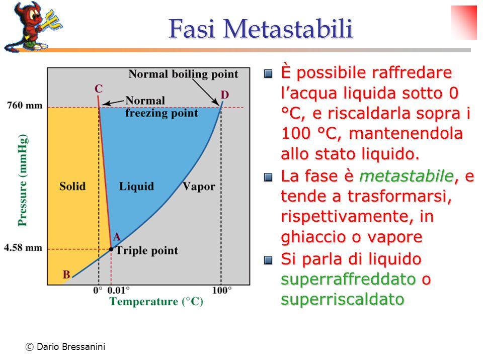 © Dario Bressanini Fasi Metastabili È possibile raffredare lacqua liquida sotto 0 °C, e riscaldarla sopra i 100 °C, mantenendola allo stato liquido. L