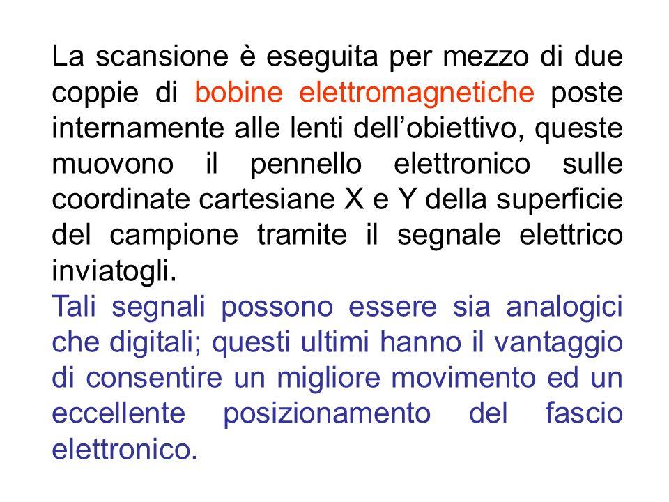 La scansione è eseguita per mezzo di due coppie di bobine elettromagnetiche poste internamente alle lenti dellobiettivo, queste muovono il pennello el