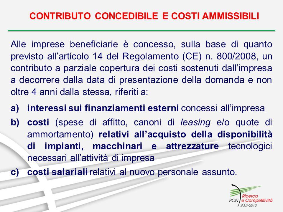 CONTRIBUTO CONCEDIBILE E COSTI AMMISSIBILI Alle imprese beneficiarie è concesso, sulla base di quanto previsto allarticolo 14 del Regolamento (CE) n.