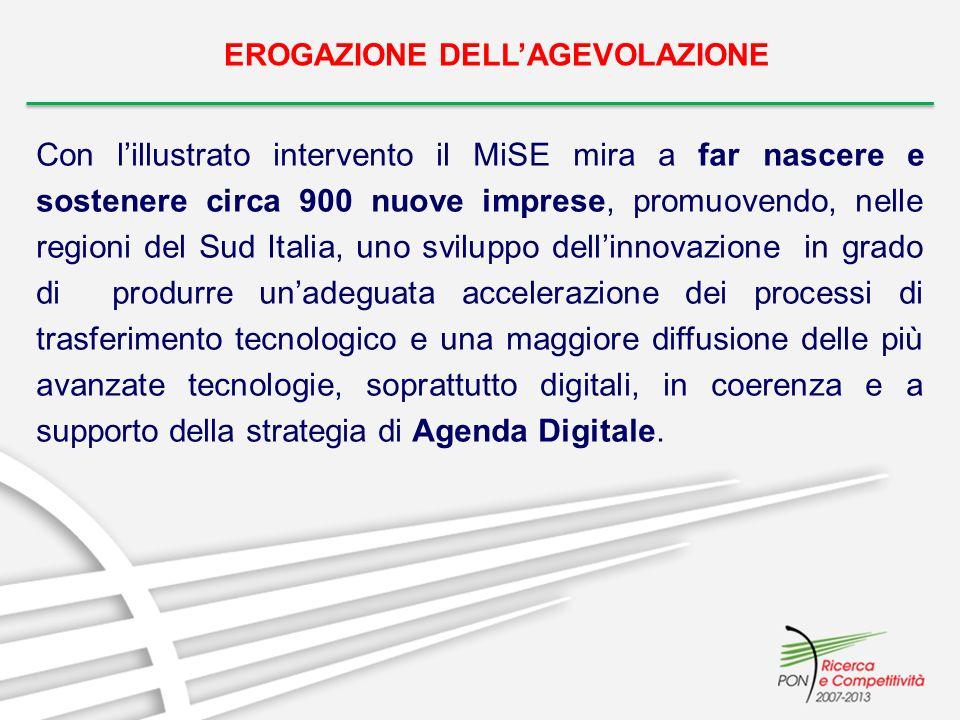 EROGAZIONE DELLAGEVOLAZIONE Con lillustrato intervento il MiSE mira a far nascere e sostenere circa 900 nuove imprese, promuovendo, nelle regioni del Sud Italia, uno sviluppo dellinnovazione in grado di produrre unadeguata accelerazione dei processi di trasferimento tecnologico e una maggiore diffusione delle più avanzate tecnologie, soprattutto digitali, in coerenza e a supporto della strategia di Agenda Digitale.