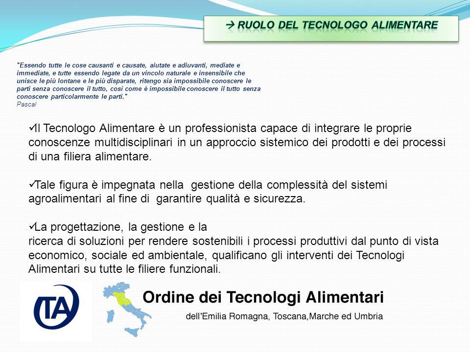Il Tecnologo Alimentare è un professionista capace di integrare le proprie conoscenze multidisciplinari in un approccio sistemico dei prodotti e dei p