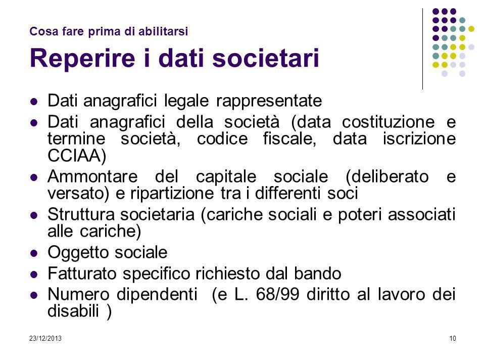 23/12/201310 Cosa fare prima di abilitarsi Reperire i dati societari Dati anagrafici legale rappresentate Dati anagrafici della società (data costituz
