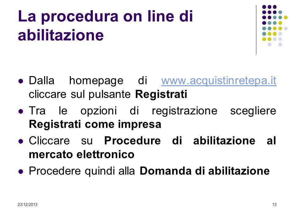 23/12/201313 La procedura on line di abilitazione Dalla homepage di www.acquistinretepa.it cliccare sul pulsante Registratiwww.acquistinretepa.it Tra