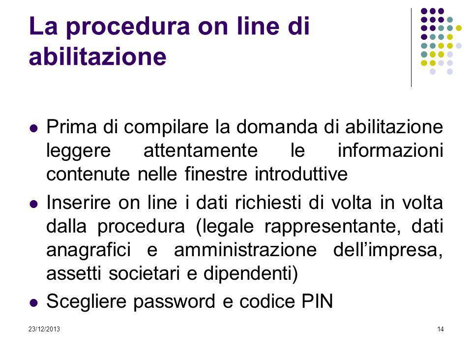23/12/201314 La procedura on line di abilitazione Prima di compilare la domanda di abilitazione leggere attentamente le informazioni contenute nelle f