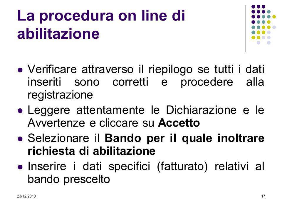 23/12/201317 La procedura on line di abilitazione Verificare attraverso il riepilogo se tutti i dati inseriti sono corretti e procedere alla registraz