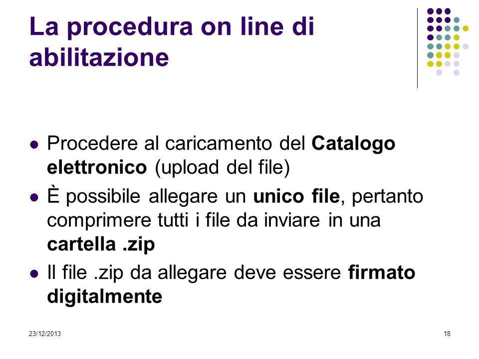23/12/201318 La procedura on line di abilitazione Procedere al caricamento del Catalogo elettronico (upload del file) È possibile allegare un unico fi
