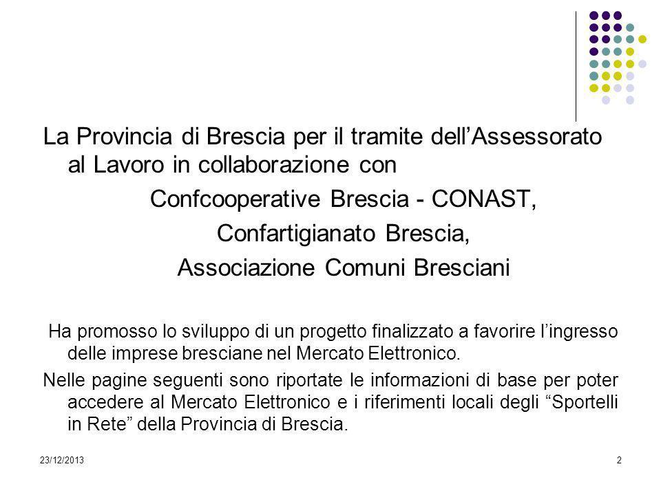 23/12/20132 La Provincia di Brescia per il tramite dellAssessorato al Lavoro in collaborazione con Confcooperative Brescia - CONAST, Confartigianato B