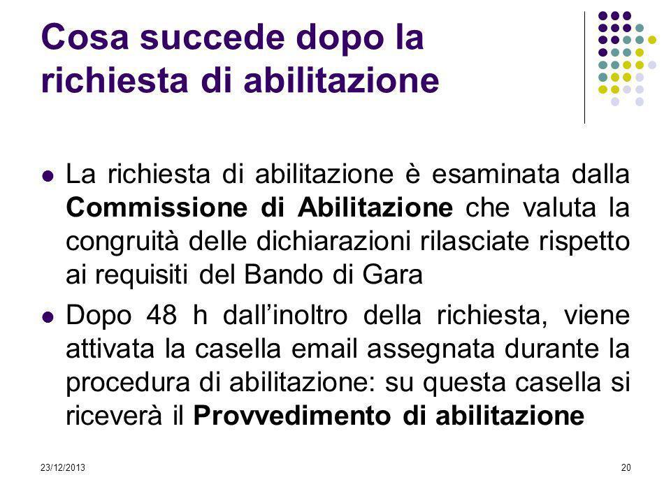 23/12/201320 Cosa succede dopo la richiesta di abilitazione La richiesta di abilitazione è esaminata dalla Commissione di Abilitazione che valuta la c