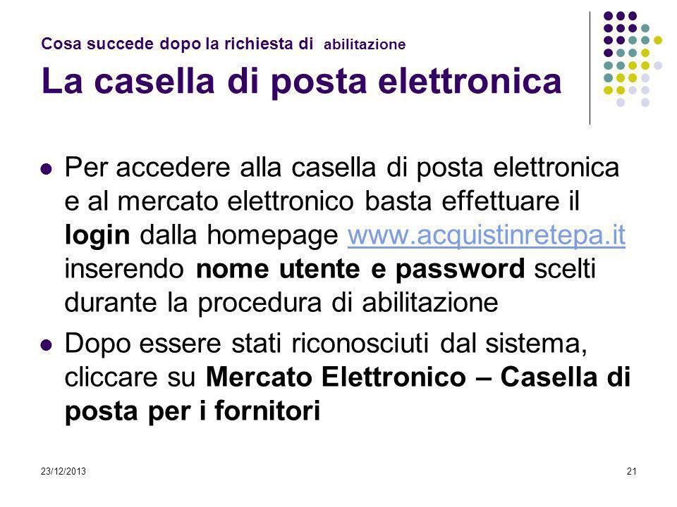 23/12/201321 Cosa succede dopo la richiesta di abilitazione La casella di posta elettronica Per accedere alla casella di posta elettronica e al mercat