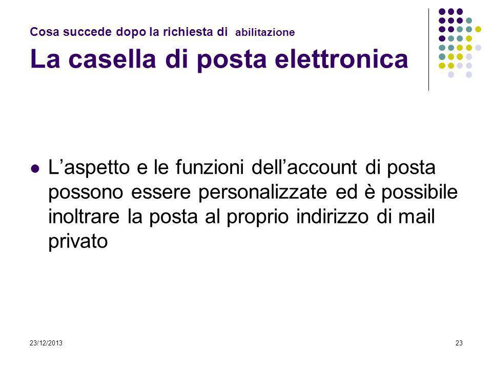 23/12/201323 Cosa succede dopo la richiesta di abilitazione La casella di posta elettronica Laspetto e le funzioni dellaccount di posta possono essere