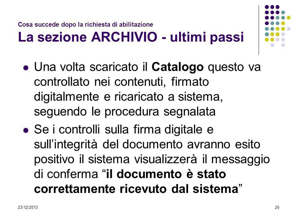 23/12/201326 Cosa succede dopo la richiesta di abilitazione La sezione ARCHIVIO - ultimi passi Una volta scaricato il Catalogo questo va controllato n