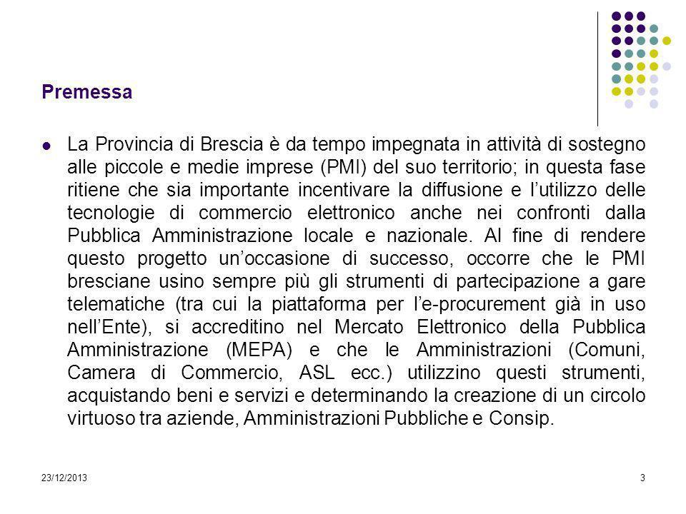 Premessa La Provincia di Brescia è da tempo impegnata in attività di sostegno alle piccole e medie imprese (PMI) del suo territorio; in questa fase ri