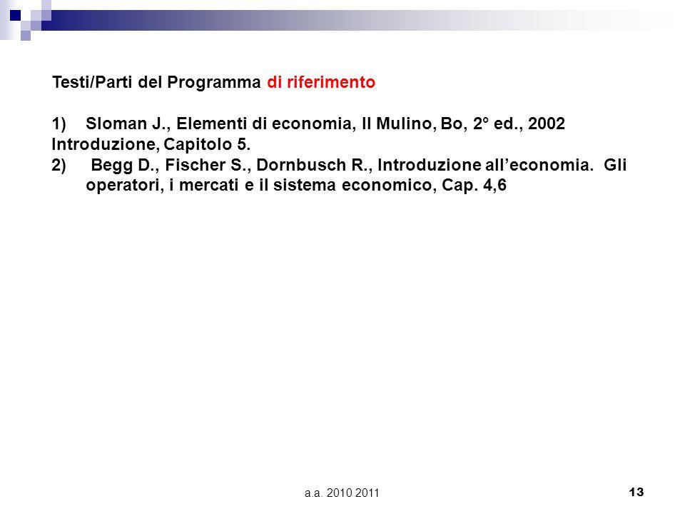 a.a. 2010 2011 13 Testi/Parti del Programma di riferimento 1)Sloman J., Elementi di economia, Il Mulino, Bo, 2° ed., 2002 Introduzione, Capitolo 5. 2)