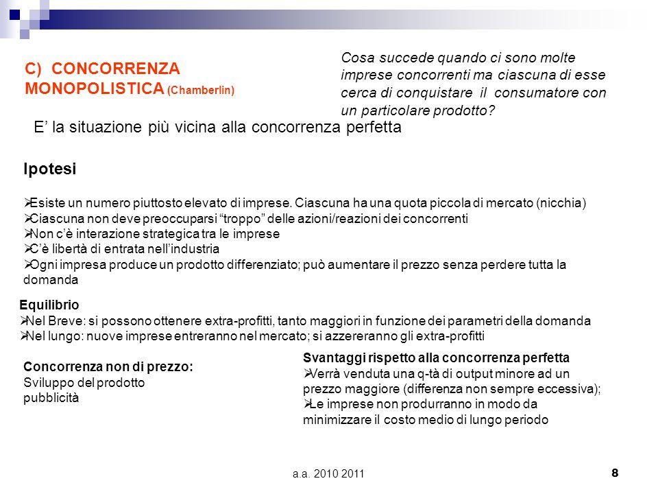 a.a.2010 2011 9 D) OLIGOPOLIO Cosa succede se poche imprese dominano il mercato.