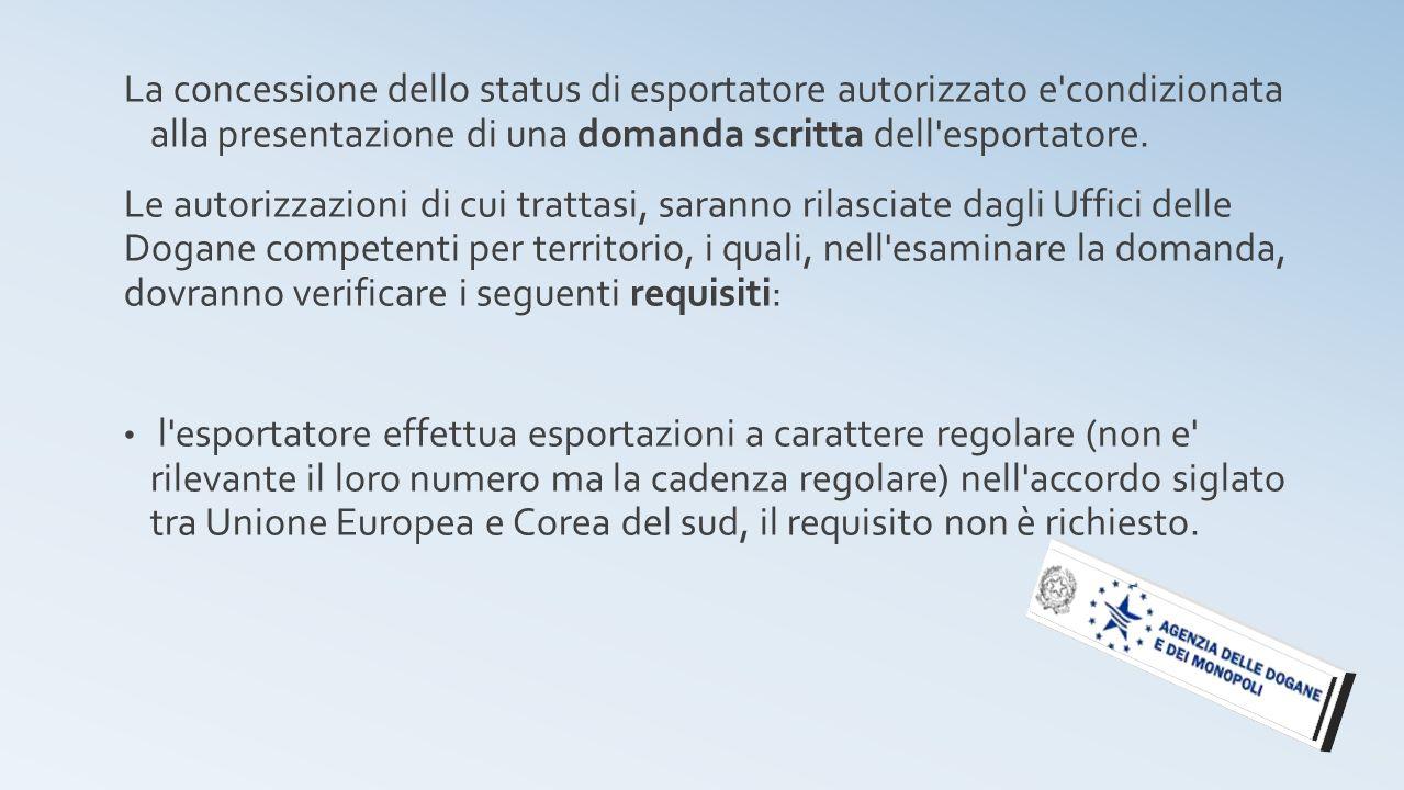 La concessione dello status di esportatore autorizzato e'condizionata alla presentazione di una domanda scritta dell'esportatore. Le autorizzazioni di