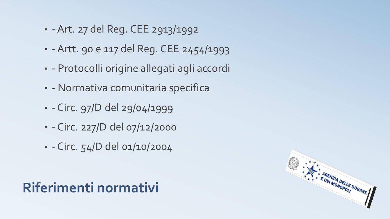 Riferimenti normativi - Art. 27 del Reg. CEE 2913/1992 - Artt. 90 e 117 del Reg. CEE 2454/1993 - Protocolli origine allegati agli accordi - Normativa