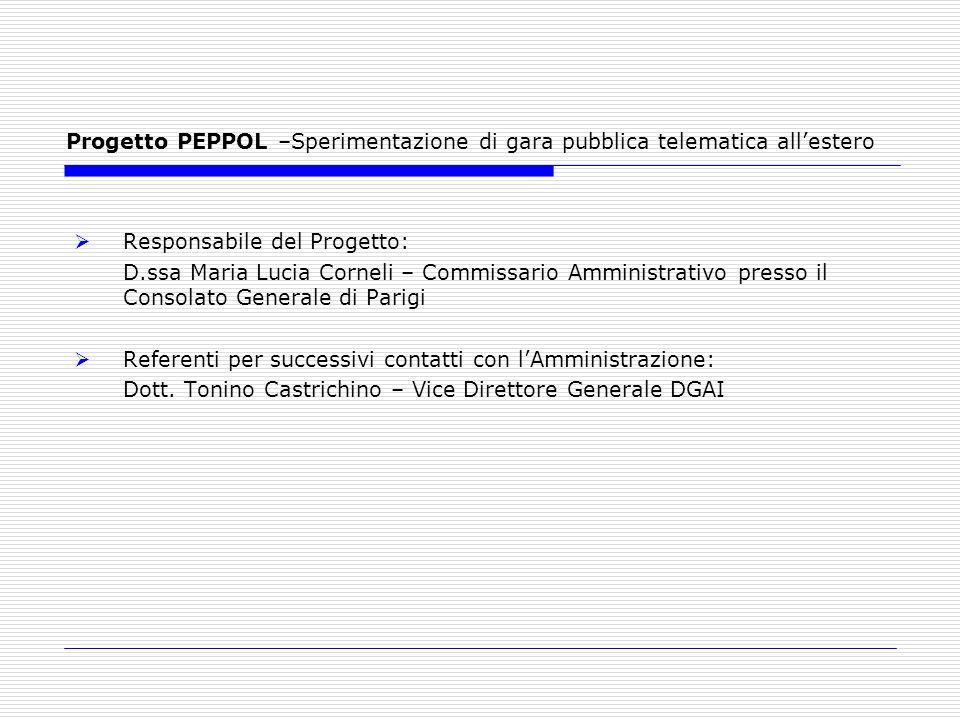 Progetto PEPPOL –Sperimentazione di gara pubblica telematica allestero Responsabile del Progetto: D.ssa Maria Lucia Corneli – Commissario Amministrati