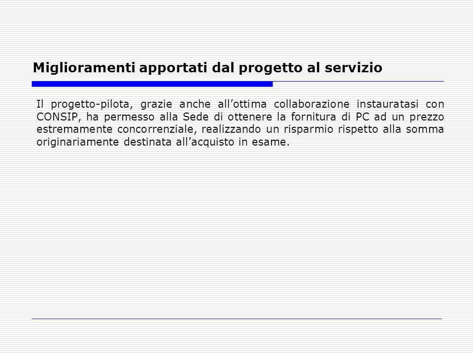 Miglioramenti apportati dal progetto al servizio Il progetto-pilota, grazie anche allottima collaborazione instauratasi con CONSIP, ha permesso alla S
