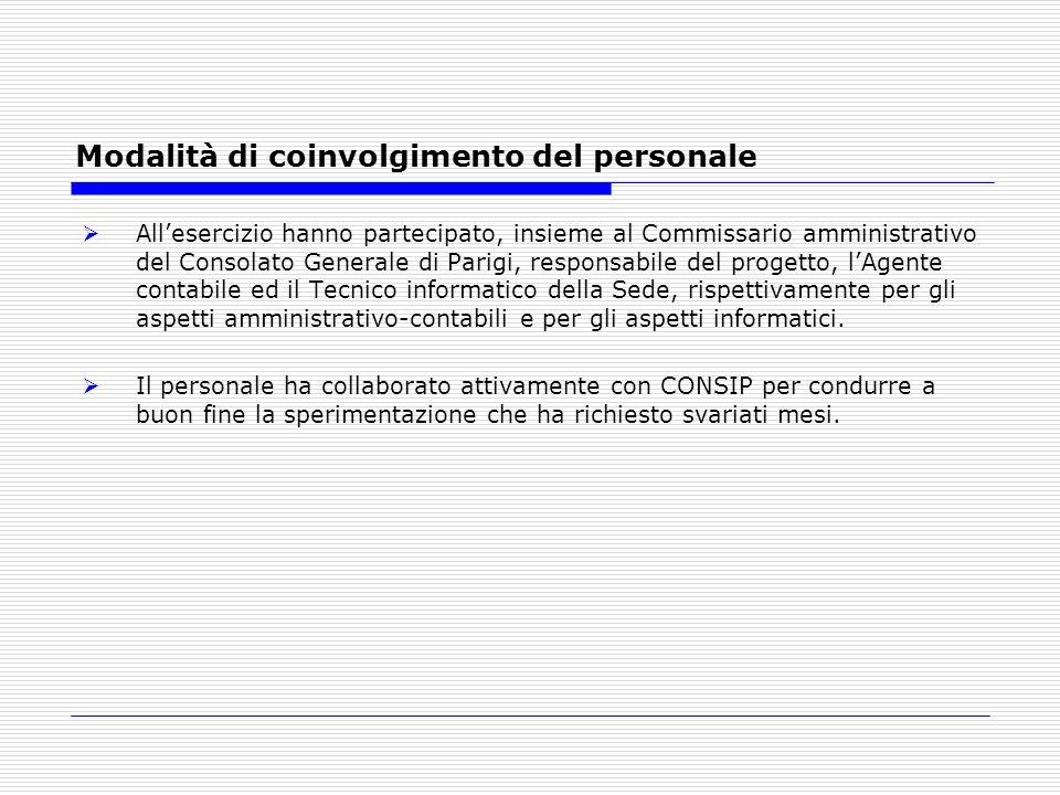 Modalità di coinvolgimento del personale Allesercizio hanno partecipato, insieme al Commissario amministrativo del Consolato Generale di Parigi, respo